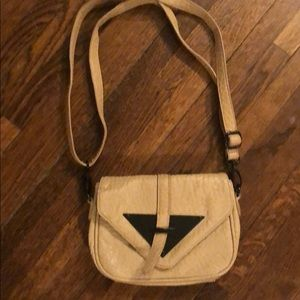 Tan color genuine leather pouch bag